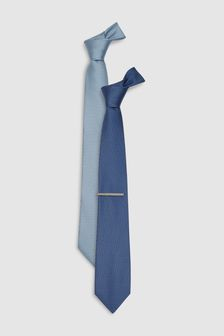 Blue Regular Textured Ties Two Pack With Tie Clip