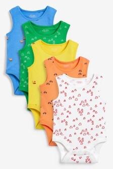 Bright Transport 5 Pack Vest Bodysuits (0mths-3yrs)