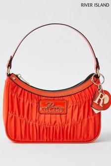 River Island Orange Ruched Scoop Shoulder Bag