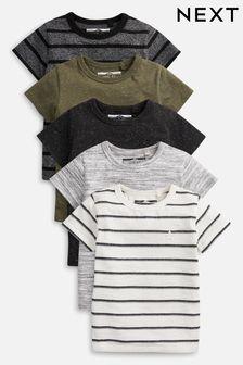 Khaki 5 Pack Textured T-Shirts (3mths-7yrs)