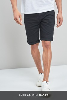 Black Straight Fit Denim Shorts