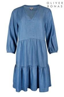 Oliver Bonas Blue Denim Chambray Mini Dress