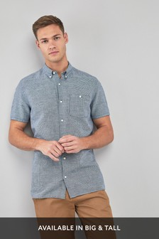Navy/White Regular Fit Linen Blend Short Sleeve Shirt