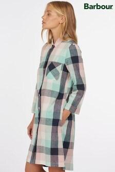 Barbour® Coastal Multi Colour Check Linen Mix Seaglow Shirt Dress