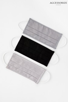 Accessorize Grey Stripe And Plain Face Covering Multipack