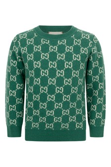 Boys Green Wool GG Jumper