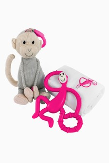 Matchstick Monkey Teething Gift Set - Pink