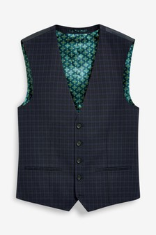 Navy Wool Blend Check Suit: Waistcoat