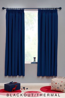 Micro-Fresh Plain Dye Pencil Pleat Lined Blackout Curtains