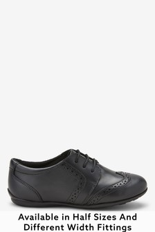 Black Standard Fit (F) Leather Lace-Up Brogues