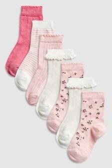 7796ec42cc5 Pink Floral Socks Seven Pack (Younger)