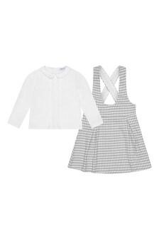Girls White Blouse & Grey Houndstooth Dress Set