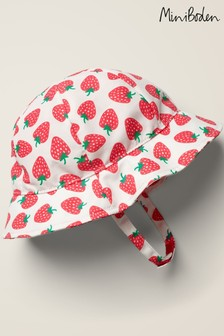 Boden White Printed Woven Hat
