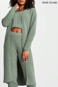 River Island Green Fluffy Cardigan