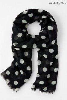 Accessorize Black/White Monochrome Polka Dot Scarf