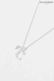 Accessorize Sterling Silver Heart Initial Necklace - C