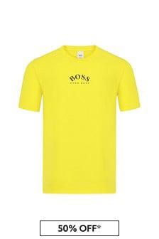 BOSS Boys Yellow Cotton T-Shirt