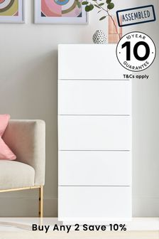 White Sloane 5 Drawer Tall Chest