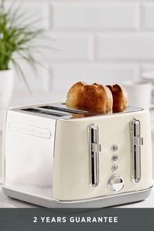 Cream Electric 4 Slot Toaster