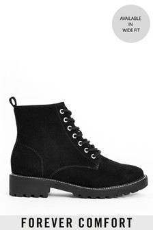 Black Forever Comfort® Cleat Sole Lace-Up Ankle Boots