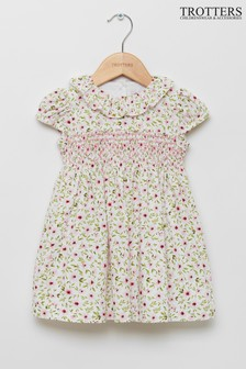 Trotters London Pink Flora Willow Smocked Dress