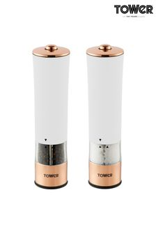 Tower White And Rose Gold Electric Salt And Pepper Mills