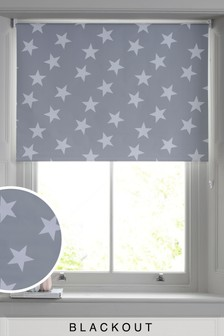 Grey Star Print Blackout Roller Blind