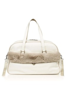 White Fur Trim Changing Bag