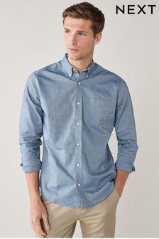 c24072df7574 ... Navy Regular Fit Long Sleeve Oxford Shirt ...