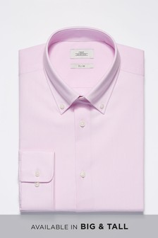 52a59e6c ... Light Pink Slim Fit Single Cuff Easy Care Oxford Shirt ...