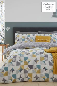 Catherine Lansfield Retro Circles Geo Duvet Cover and Pillowcase Set