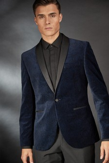 Navy Slim Fit Printed Velvet Tuxedo Jacket