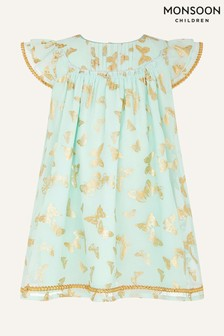 Monsoon Green Baby Foil Butterfly Print Dress