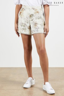 Ted Baker White Henliy Vanilla Scallop Trim Shorts