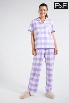 F&F Blue Lilac Gingham Revere Pyjamas