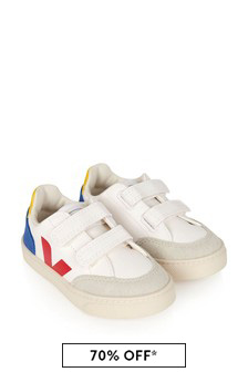 Kids White V-12 Velcro Trainers