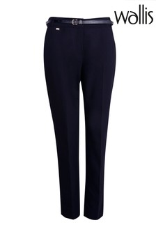 Wallis Navy Belted Cigarette Trousers