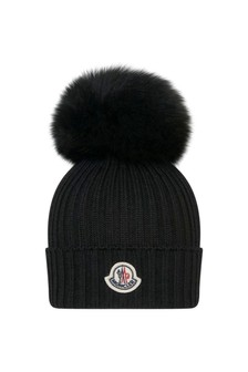 Kids Black Wool Hat With Pom Pom