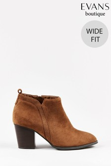 Evans Curve Wide Fit Brown Heeled Ankle Boots
