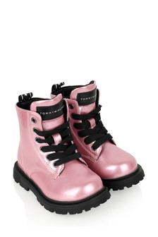 Girls Pink Lace-Up Boots