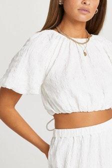 River Island White Puff Tie Back Crop T-Shirt