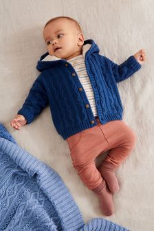 Navy Blue Borg Lined Hooded Cardigan (0mths-2yrs)