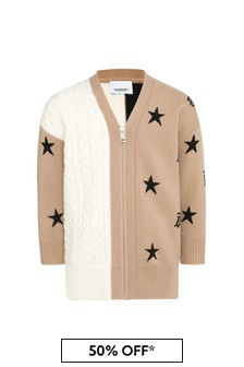 Girls Beige Wool Cardigan