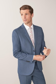 Blue Slim Fit Stretch Marl Suit: Jacket