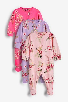 Pink/Purple 3 Pack Floral Sleepsuits (0mths-2yrs)