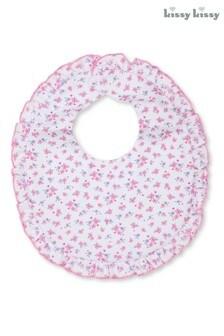 Kissy Kissy Pink Ditsy Floral Ruffle Bib