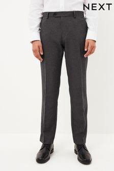 Grey Regular Fit Machine Washable Plain Front Trousers