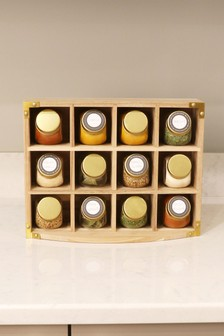 Set of 12 Kitchen Pantry Unfilled Spice Jars & Storage Rack