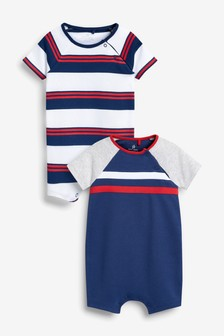 Navy/Red 2 Pack Sporty Rompers (0mths-3yrs)