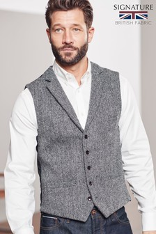 Grey Tailored Fit Herringbone Harris Tweed Signature Waistcoat